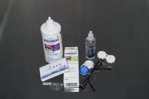 Kontaktní čočky, brýle a roztok